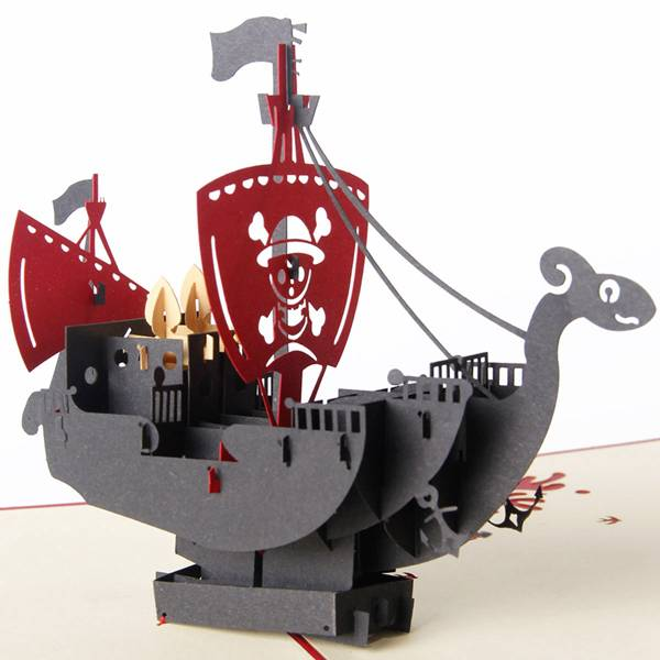 Factory Supply Birthday Cake Design Paper Card -  Paper Spiritz 3D pop up sailboat Pirategreeting card laser cut postcard handmade kirigami creative gifts – Jiujv