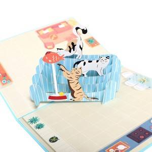 Funny Cats 3D PopUp Greeting Card