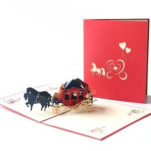 Paper Crafts Handmade Laser Cut Carriage House Pop Up Wedding Invitation Card Printing