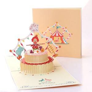 Lāzera Cut 3d Klauns torte Birthday Popup Card