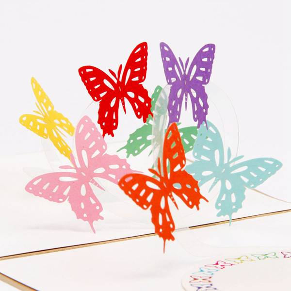 China Cheap price Laser Pop Up Card - Butterfly 3D Pop-Up Greeting Card With 7 Magic Flying Butterflies Hand Assembled Ideal for Birthdays Wedding – Jiujv