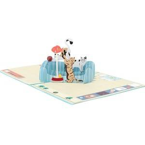 Funny Cats 3D urbana Greeting Card