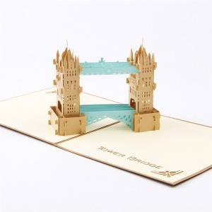 Vintage Tower Bridge Popup Building Greeting Card for customers