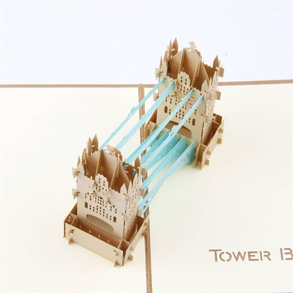 2017 China New Design Funny Birthday Cards - Vintage Tower Bridge Popup Building Greeting Card for customers – Jiujv