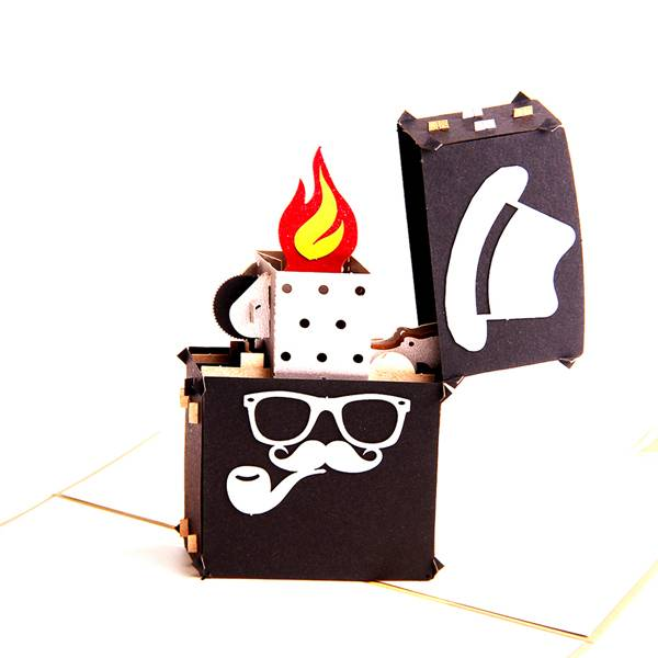 Factory directly supply Card Pop Up - Awesome 3D lighter Pop Up Business Greeting Cards and Envelope – Jiujv
