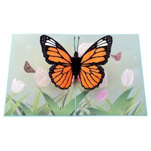 Beautiful Butterfly laser ịcha Pop Up Card na ụma dee kaadị & envelop