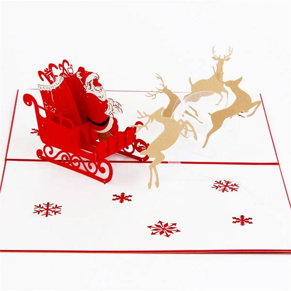 OEM/ODM China Christmas Card Ideas - Santa, Sleigh and Reindeer Christmas 3D Pop Up Card  – Jiujv Featured Image