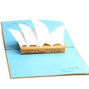 Australia Building Sydney Opera House Pop Up Card Gold Cover