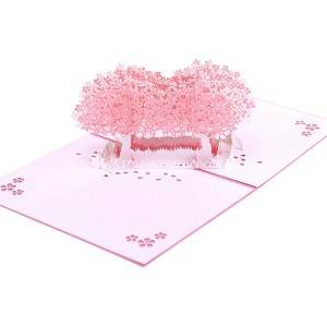 Beautiful Laser Cut cherry bloom pop up 3D greeting card with envelope
