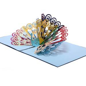 China factory customise handmade colorful peacock pop up cards