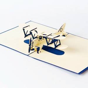 Blue airplane laser cut 3D pop up card happy birthday greeting cards gifts wholesale