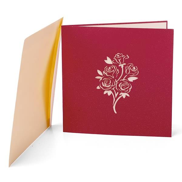 Factory Promotional Birthday Pop Up Card - Red Rose Bouquet 3d Pop Up Greeting Card Valentine'S Day Card – Jiujv