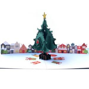 Christmas Tree Village Pop Up Christmas Card, 3D karte, Holiday Card
