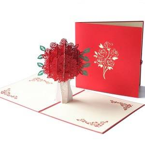 Red Rose Bouquet 3d Pop Up Greeting Card Valentine'S Day Card