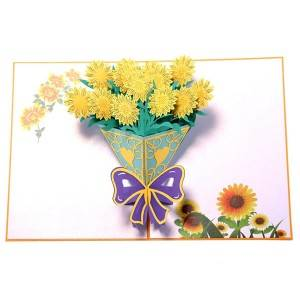Personalized Sunflower Bouquet  Pop Up Cards
