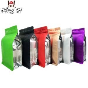 Stock colorful matte finish aluminum foil flat bottom zipper pouch with window