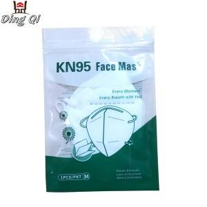 Three side sealed custom plastic KN95 medical face mask packaging bag with ziplock