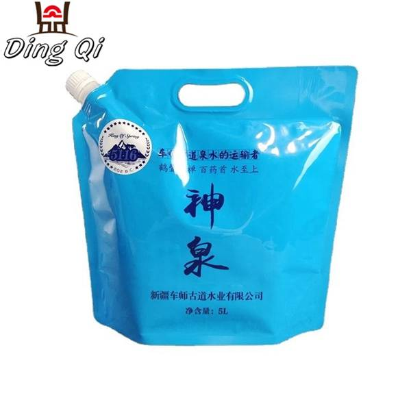 Wholesale 5L custom printed food grade spout pouch with handle