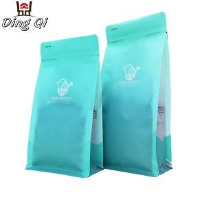 Recycled flat bottom plastic coffee pouch with valve
