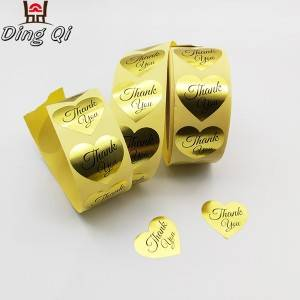 Gold foil stickers heart shape thank you labels
