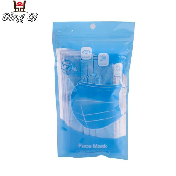 Clear window plastic three side sealed medical surgical face mask zipper bag