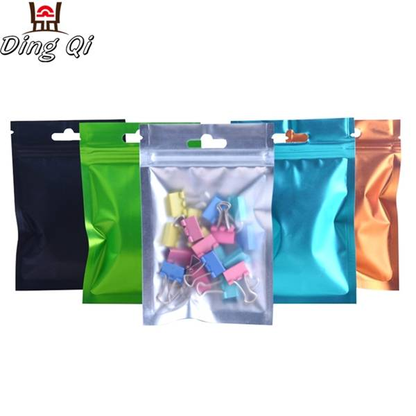Stock matte finish one side transparent aluminum foil three side seal zipper bag with hang hole