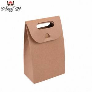 Take away cheap brown fast food bread cake packaging paper bag