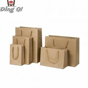 Small cheap custom recycable brand name customised recycle brown shopping carry t-shirt packaging kraft gift paper bag