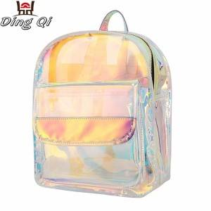 Customized fashion transparent pvc waterproof girls backpack