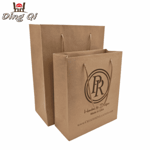 Custom logo printed take away wedding gift recycled brown kraft paper bag