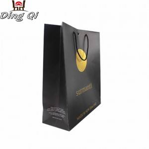Custom print matte customize luxury design recycled black kraft wine bottle paper bag