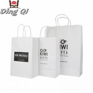 Custom recycle promotion small matte laminated cheap packaging kraft cardboard white fast food cake paper bag