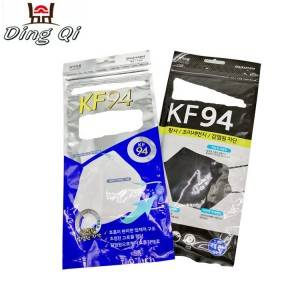 Custom three side seal zipper plastic KF94 medical surgical mask packaging bag