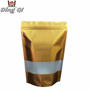 Stock foil lined golden embossing food grade plastic zipper stand up bag with window