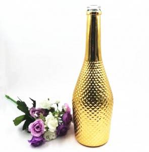 electroplated gold long neck glass vodka bottle