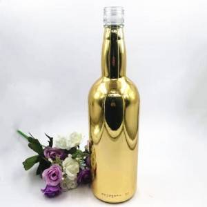 Round Shaped Golden Electroplating Spirit Liquor Bottles