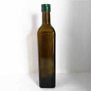 Brown glass olive oil bottle