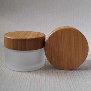Frosted Glass Jar With Bamboo Lid Wholesale Lid