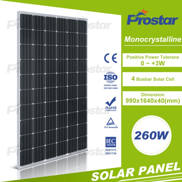 260 watt 60 cells monocrystalline solar pannel for sale