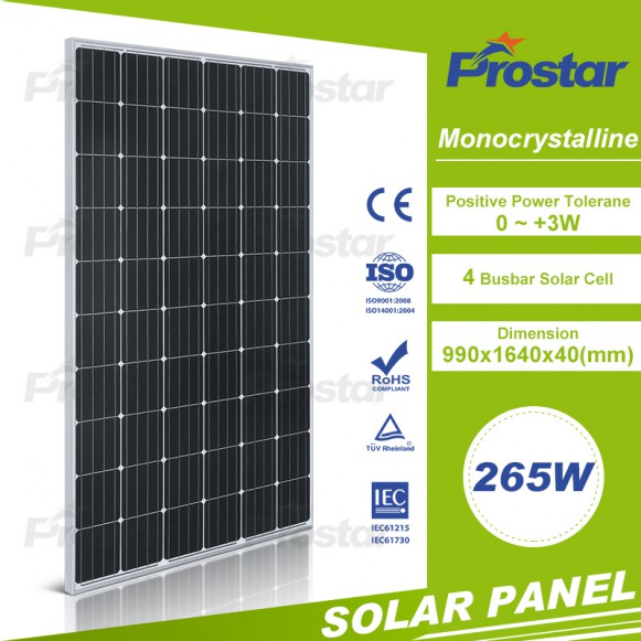 A grade high quality monocrystalline 265w solar panel