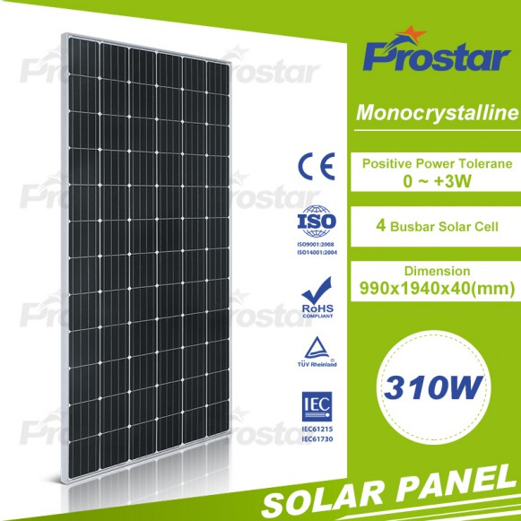 Monocrystalline 310 watt solar panel in Grade A
