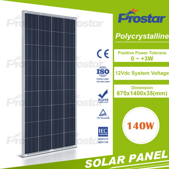 Poly solar panels 140W for mobile home with CE certificate