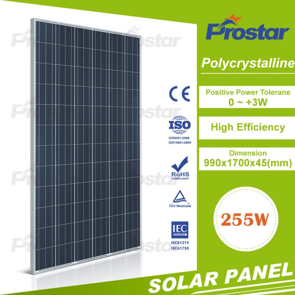 Poly 255w solar panel for mobile phones export all over the world