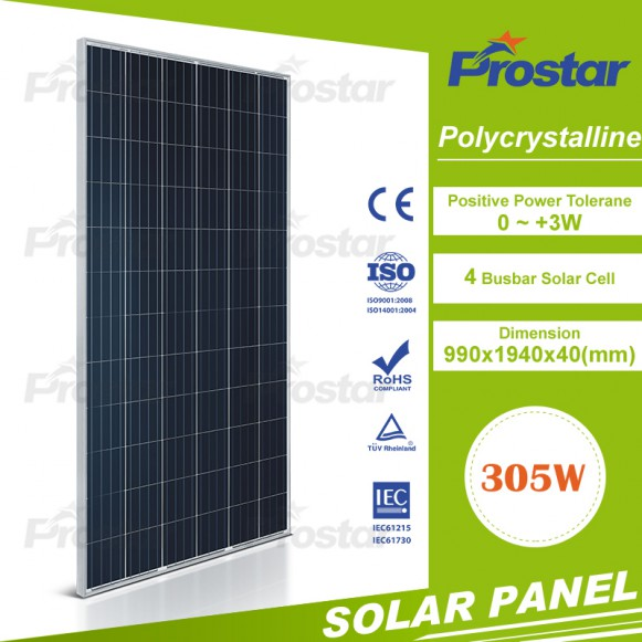 High efficiency poly 305w solar panel for home and house use