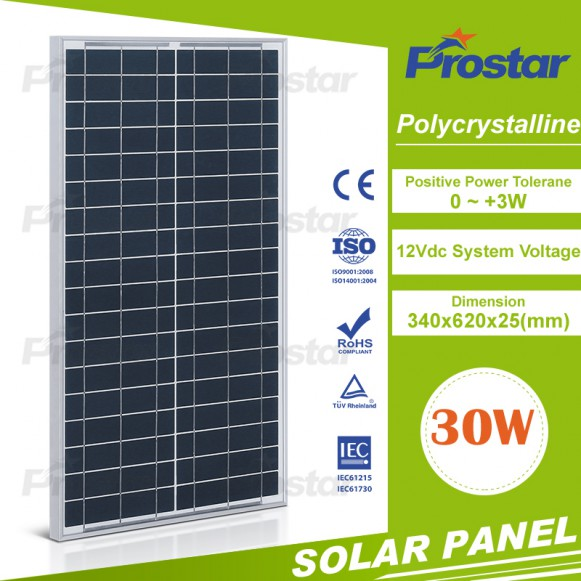 High efficient 30 watts solar panel poly with battery