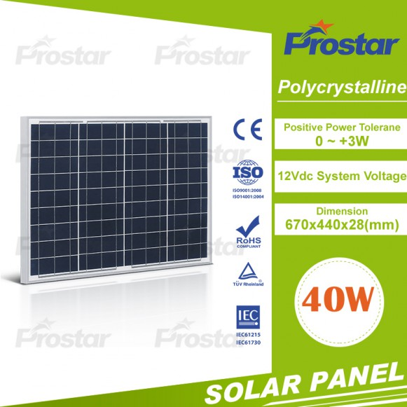 Poly Silicon 40 watt solar panels made in China