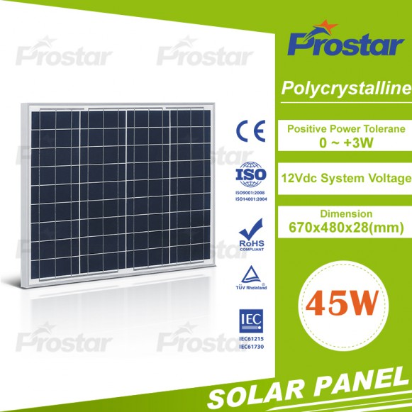 Golden supplier for pv panel 45wp polycristalline for home use
