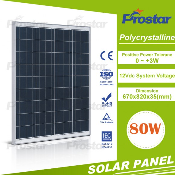 Best quality polycrystall 80watt solar panel 80w with CE ISO IEC TUV certificates