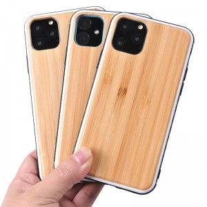 Luxury Unique Wood Shockproof Drop Proof Slim Thin Hybrid Silicone Bumper Protection Wooden Cover Case for Apple iPhone 11