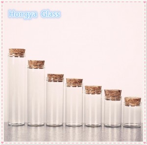 30mm flat bottom borosilicate glass test tube with wooden cork